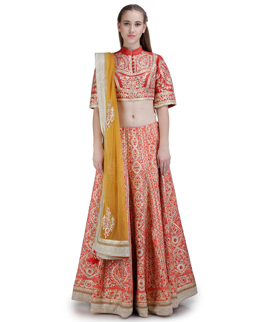 RED EMBROIDERED LEHENGA SET WITH POTLI BUTTON