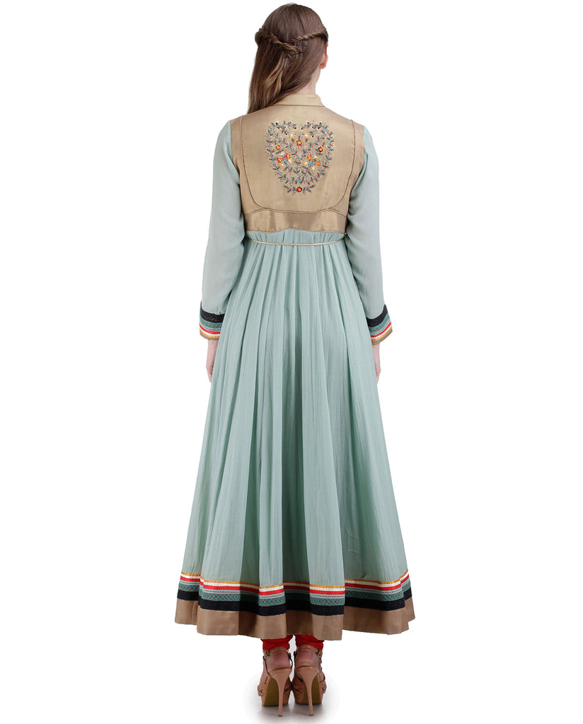 LIGHT BLUE EMBROIDERED YOKE ANARKALI