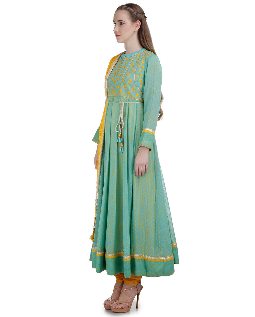 YELLOW AND BLUE FLORAL THREAD EMBROIDERED KURTA