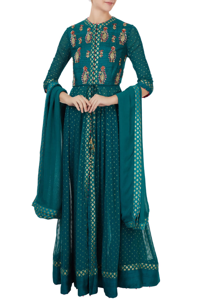 Teal green handloom silk zardozi embroidered anarkali set