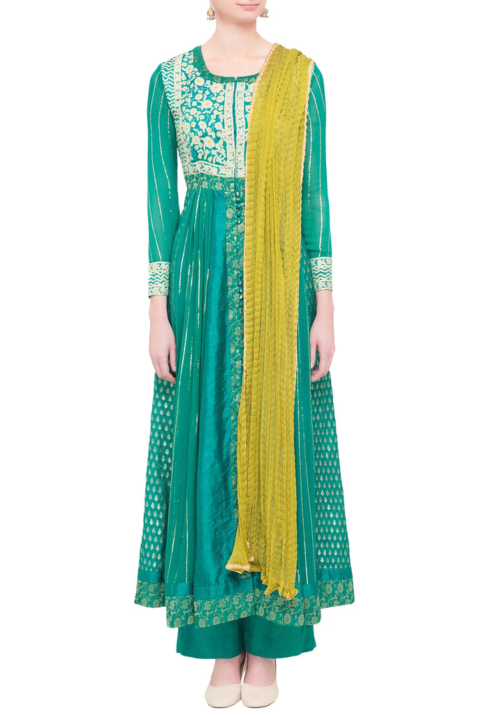 Teal green & green viscose silk gota work kurta set with dupatta