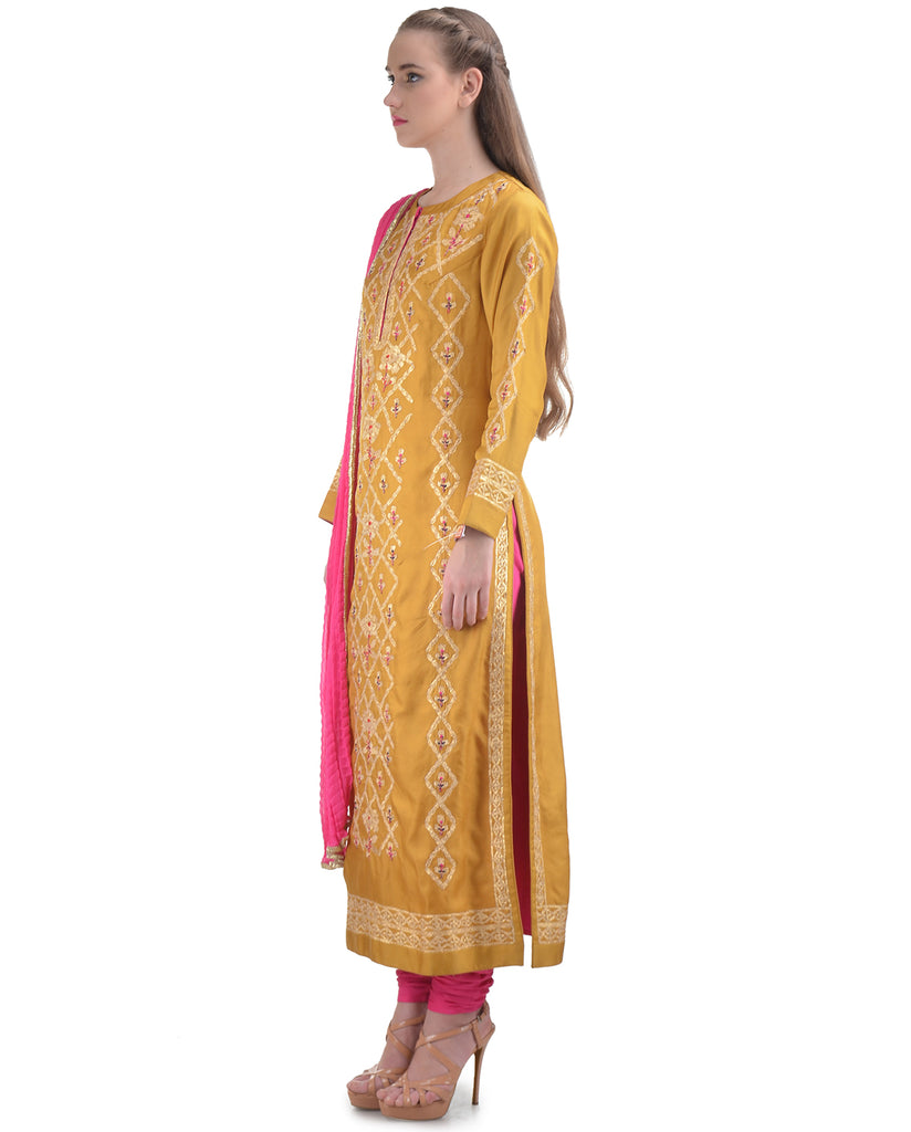 MULTI COLORED THREADS EMBROIDERED PALE GOLDENROD SILK STRAIGHT KURTA SET