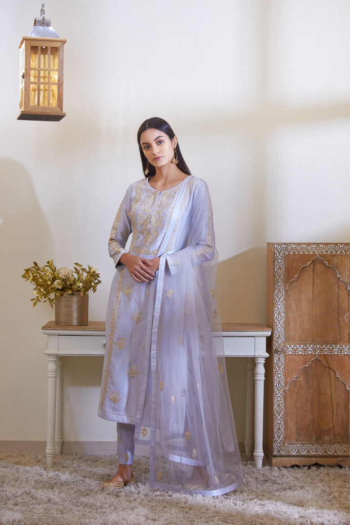 Powder Blue Kurta Set.