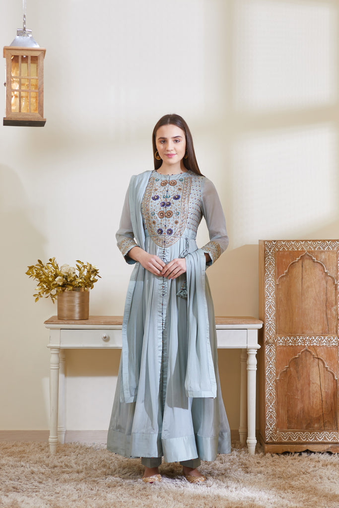 Smoke Blue Anarkali Set.