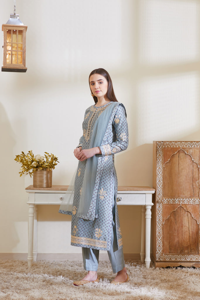 Blue Grey Kurta Set.