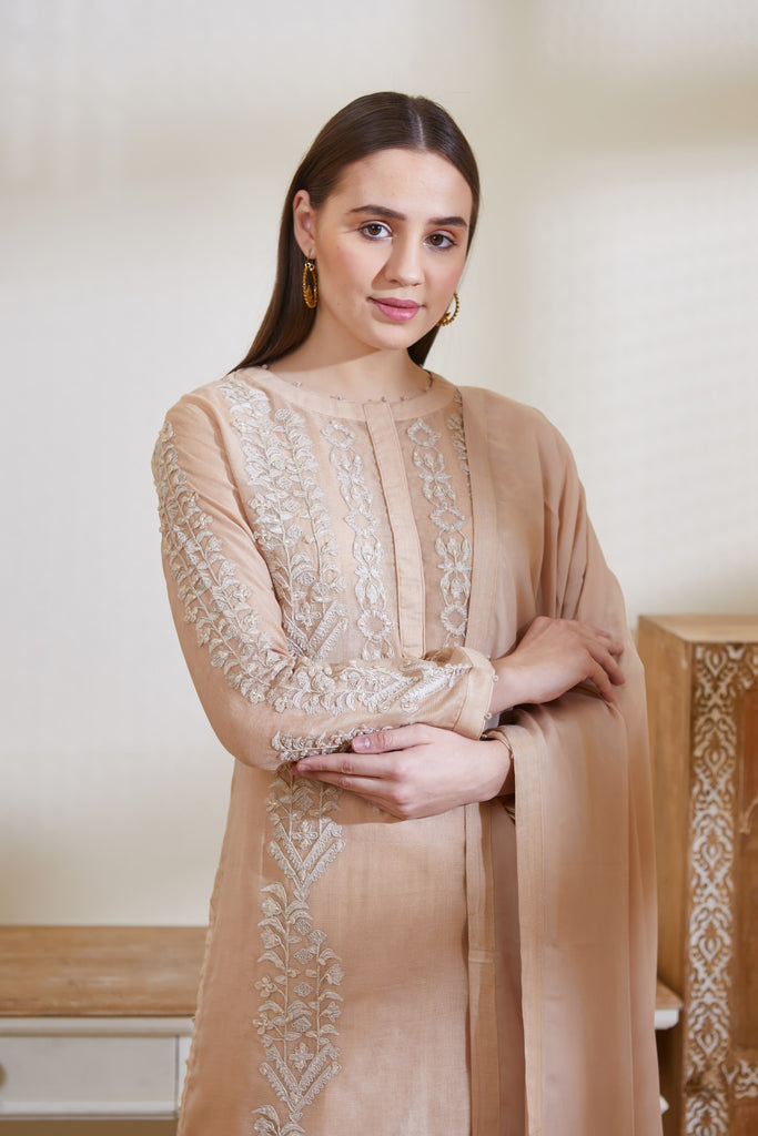 Neutral Beige Kurta Set.