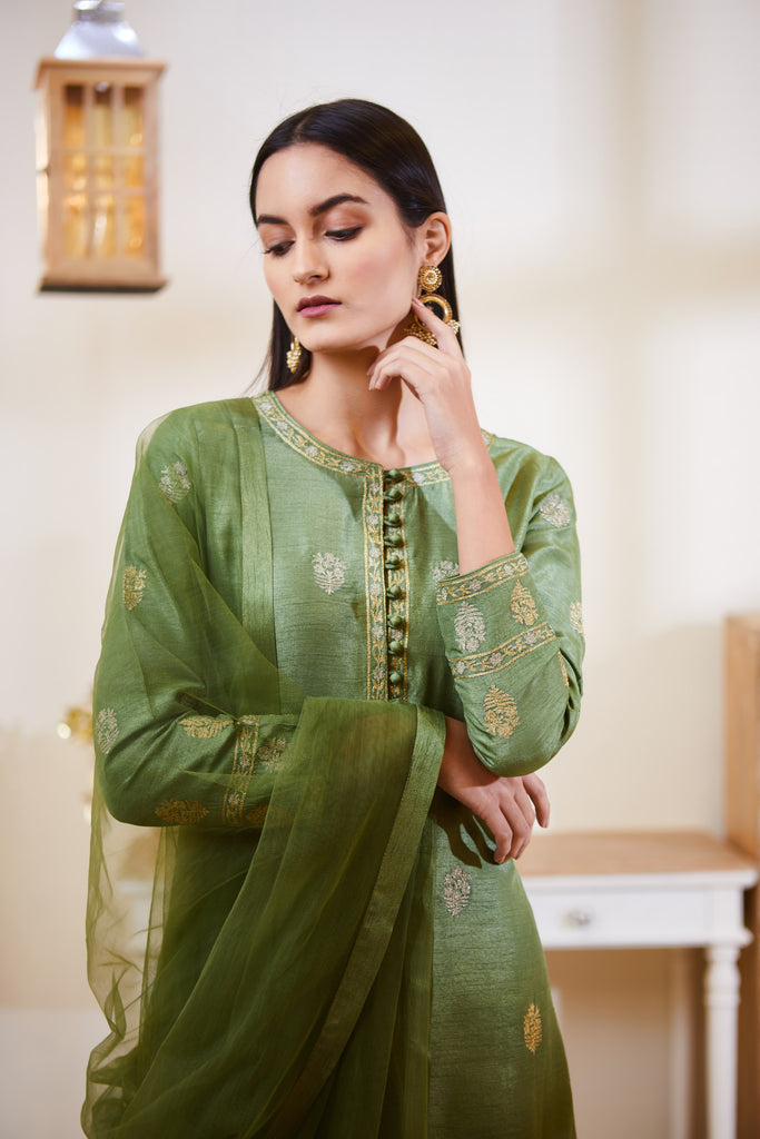 Green Kurta Set.