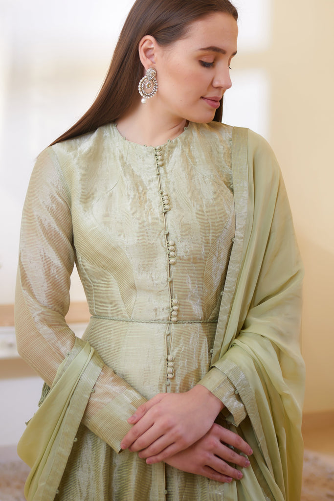 Mint Green Anarkali  Set.