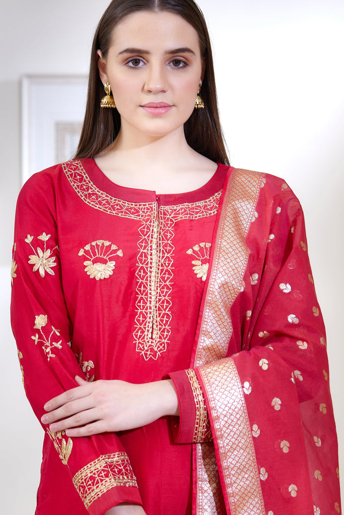 Pink Red Kurta Set.