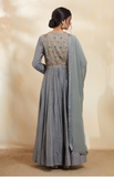 Blue Grey Anarkali Set.