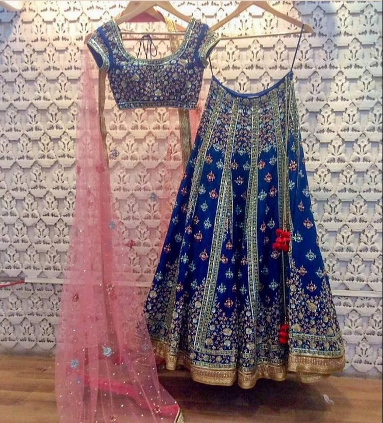 Navy Blue Lehenga Set.