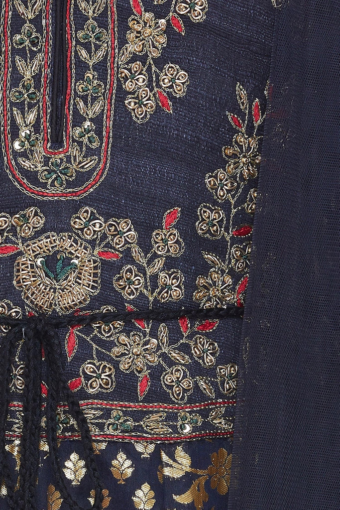 Embroidered kurta with churidar and dupatta
