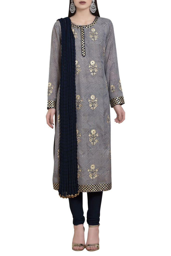 Thread embroidered & gota kurta set