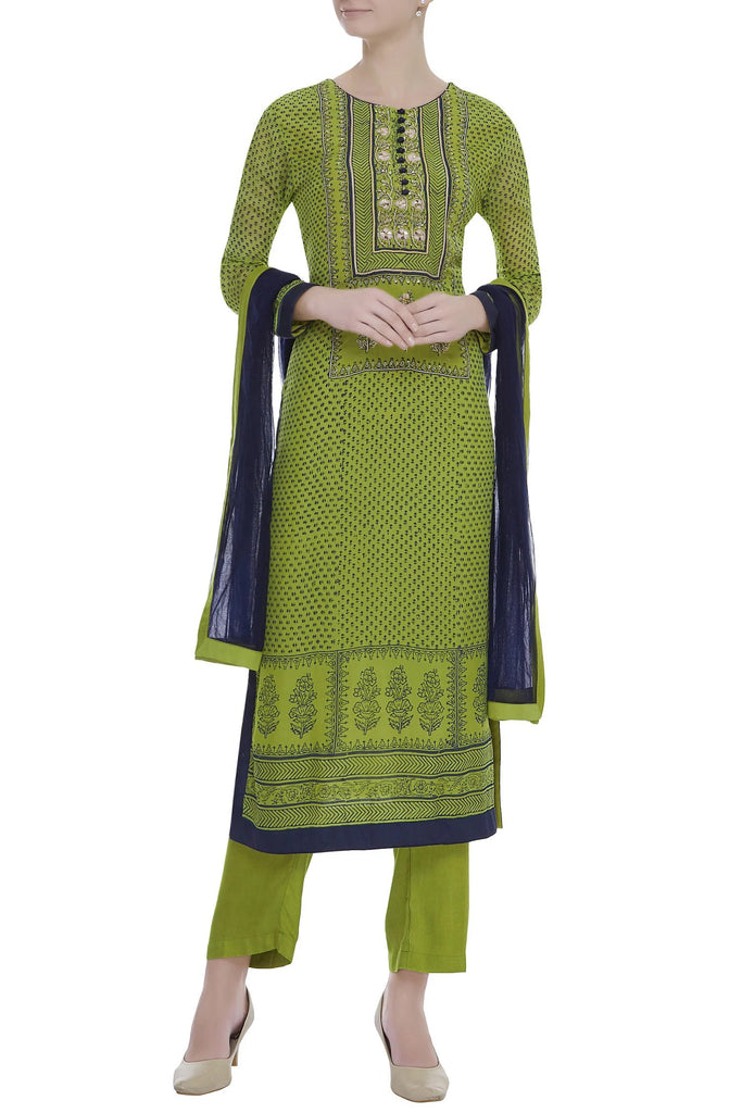 Green & Blue Kurta Set.