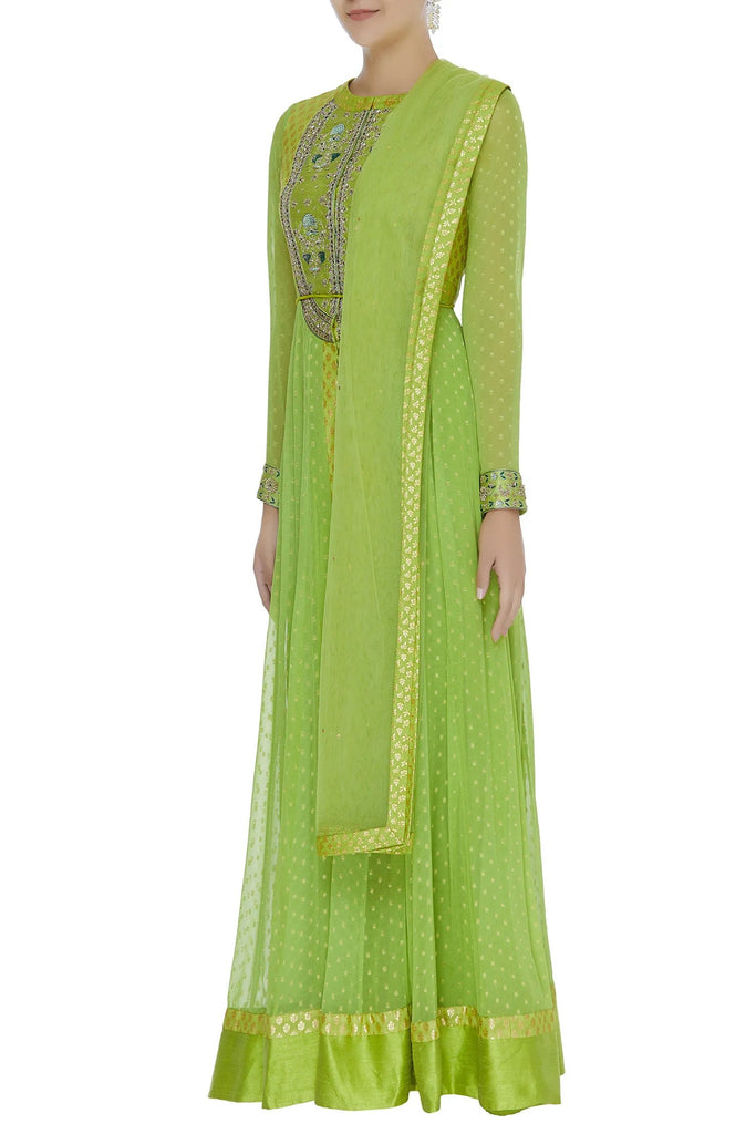 Zardozi work anarkali kurta with dupatta