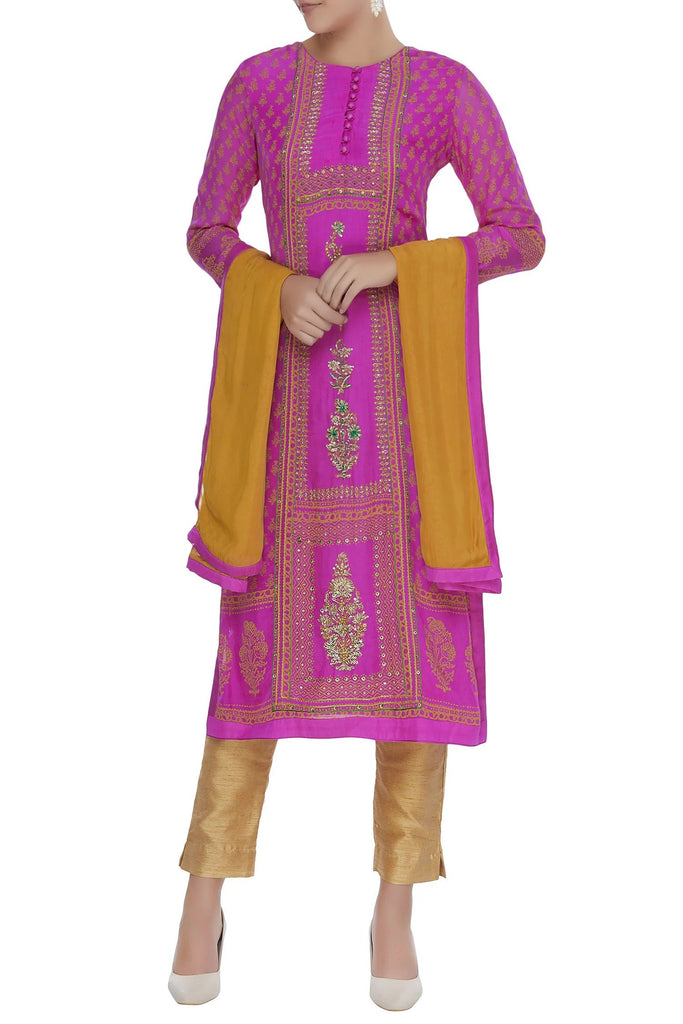 Purple & Yellow Kurta Set.