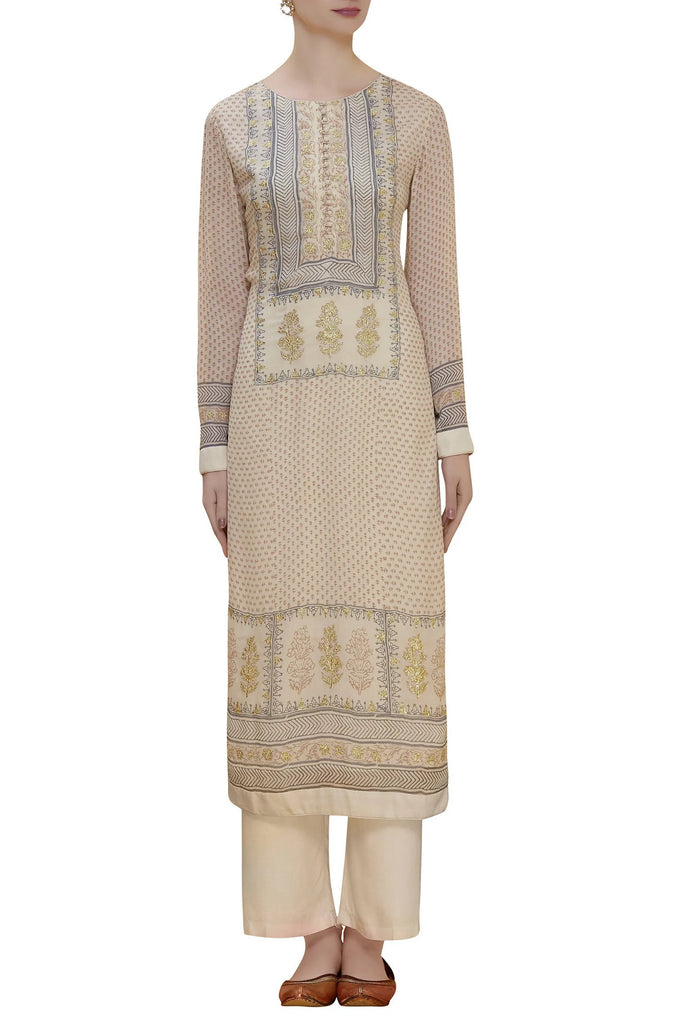 Beige & Blue Kurta Set.