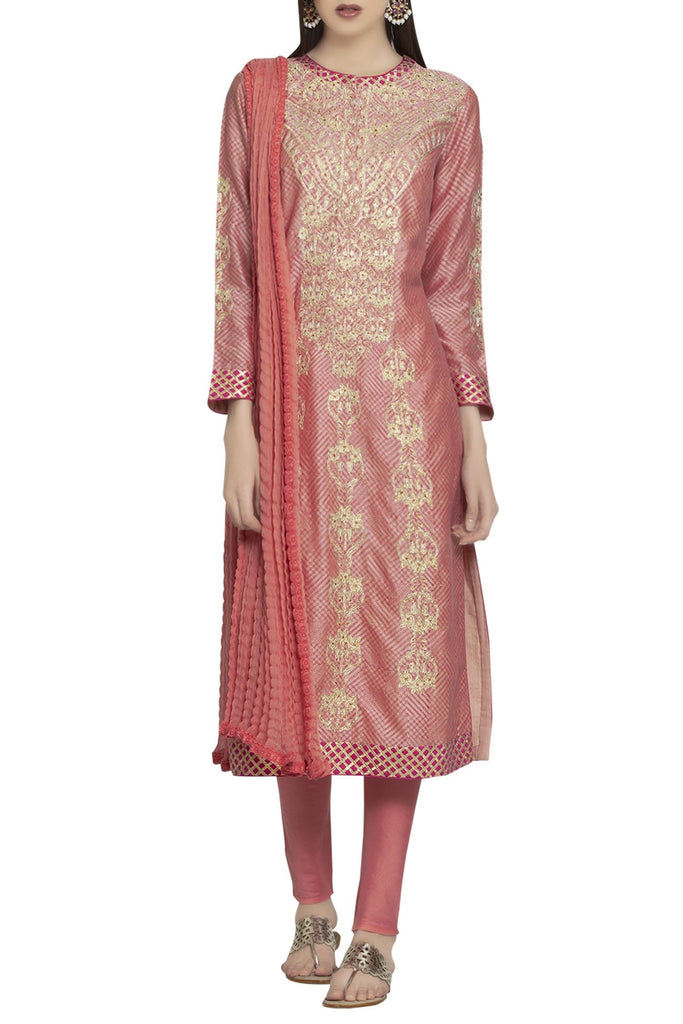 Chanderi gota kurta with churidar & dupatta