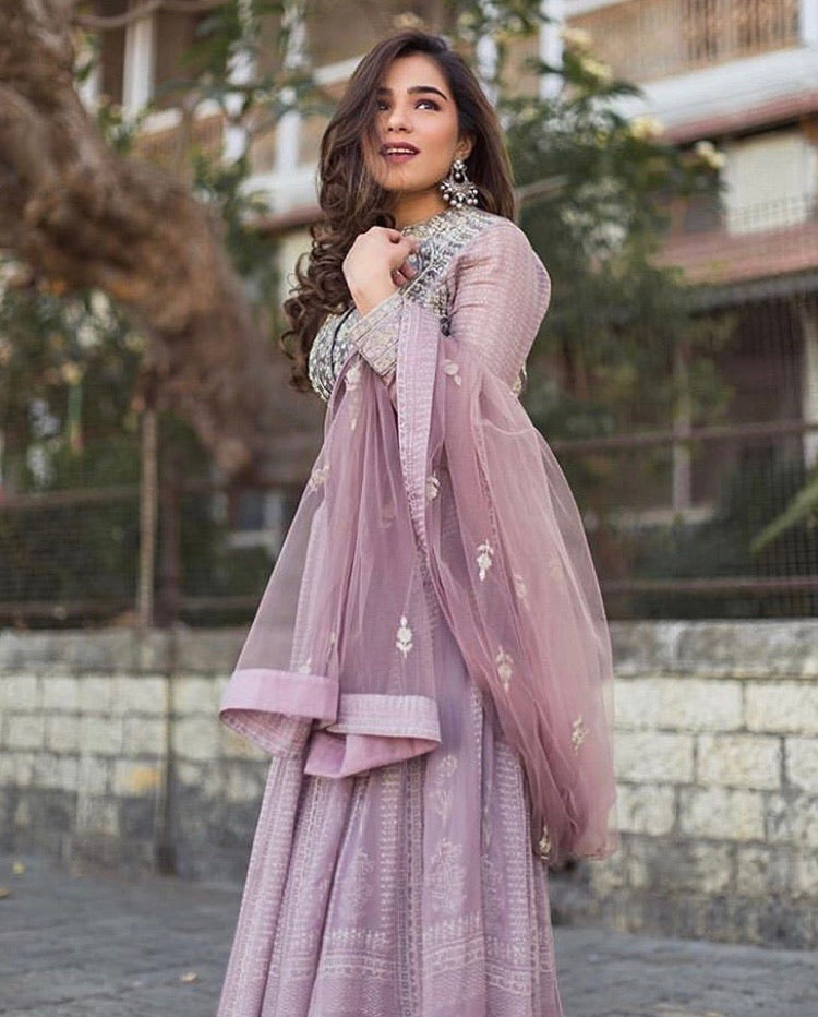 Mauve Purple Anarkali Set.