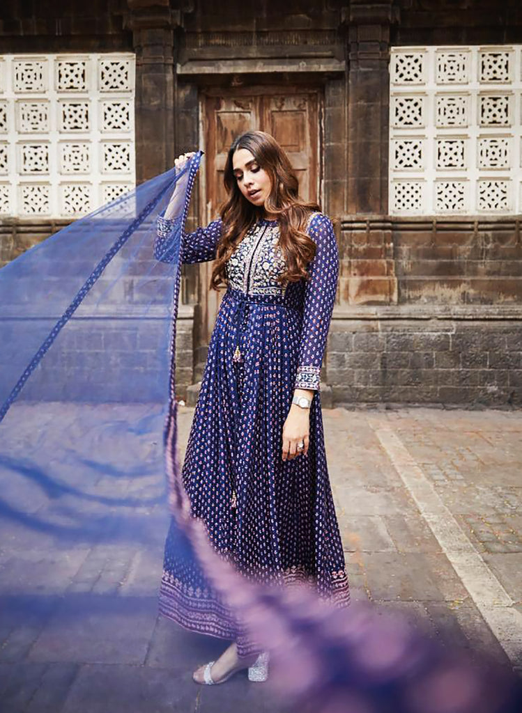 Navy Blue Anarkali Set.