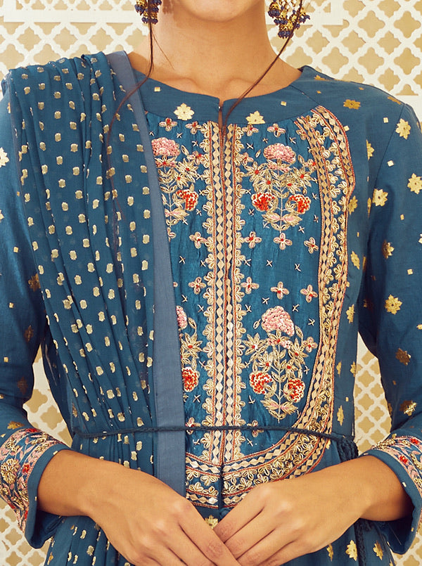 Teal Blue Anarkali Set.