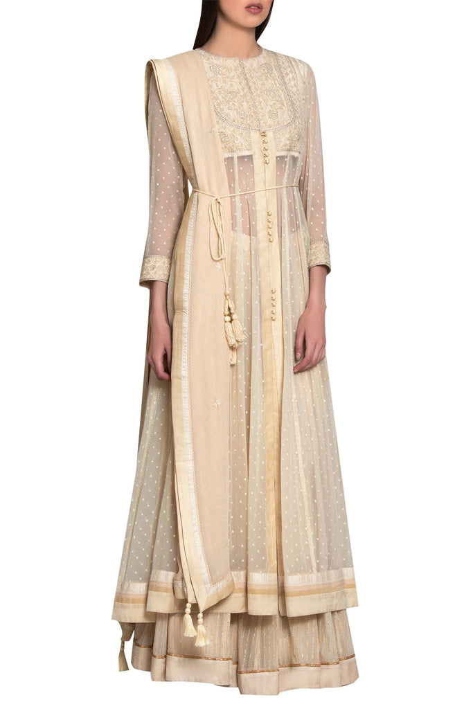 Beige silk, georgette & viscose thread work kurta with lehenga & dupatta