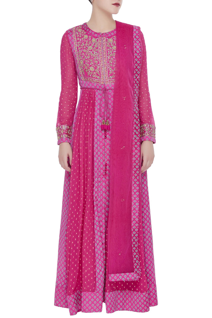 Side flare embroidered anarkali kurta set
