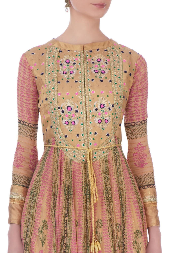 Pink & Gold Anarkali set.