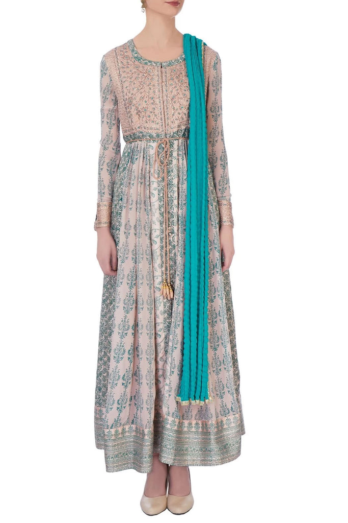 Blue & Beige Anarkali Set