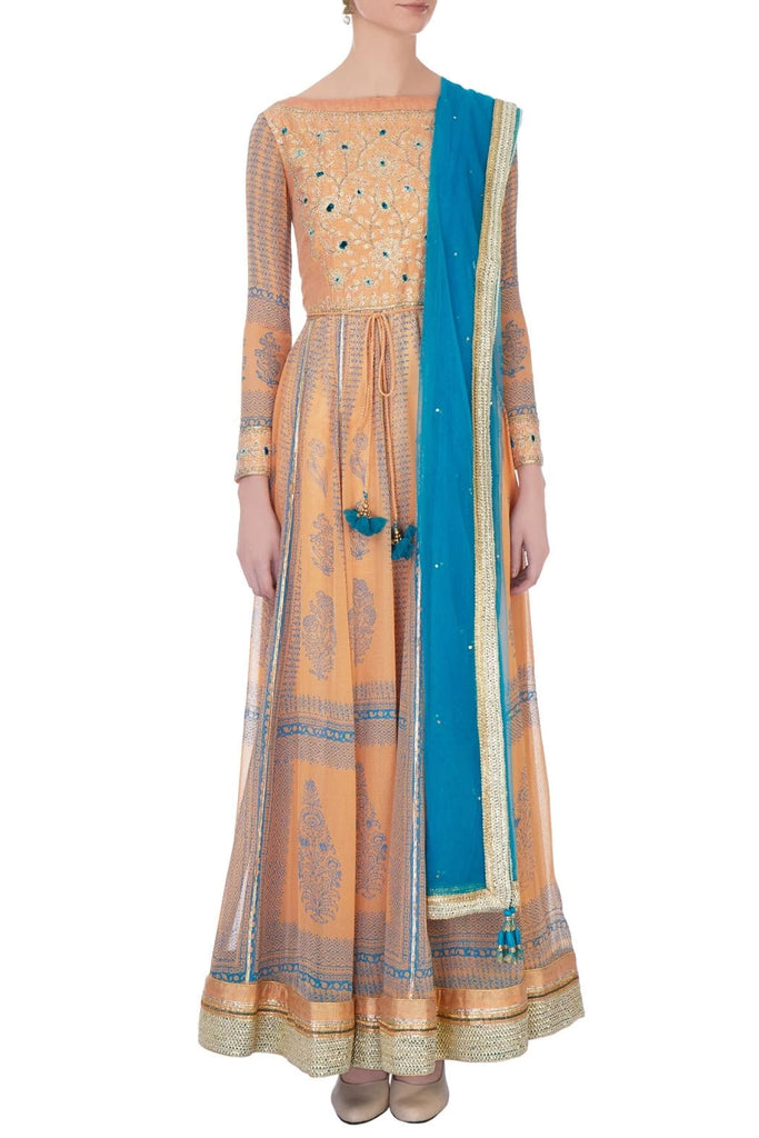 Orange & pink gota thread embroidered kurta set