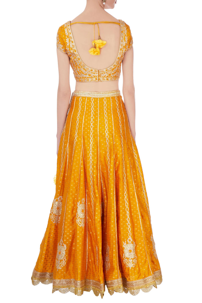 Orange brocade gota lehenga set