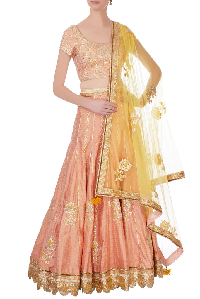 Peach & gold gota work lehenga set