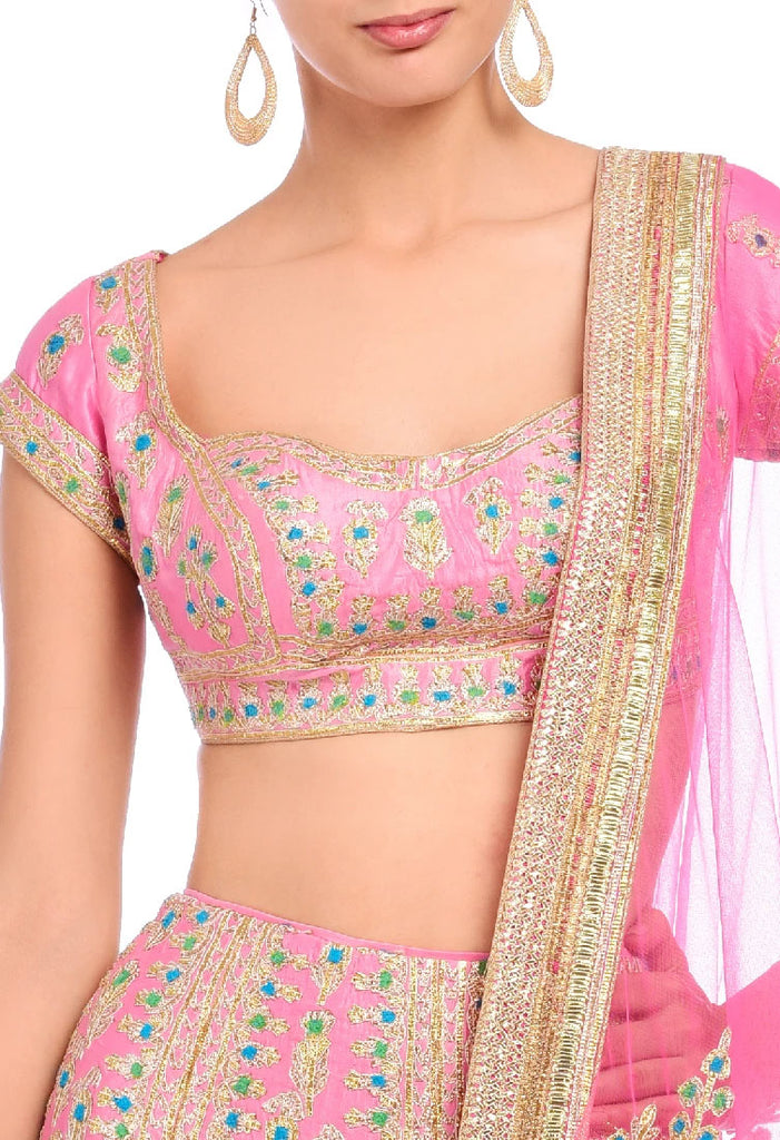 Carnation pink embroidered lehenga set