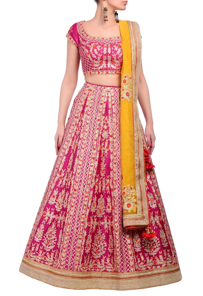Fuschia pink embroidered lehenga set