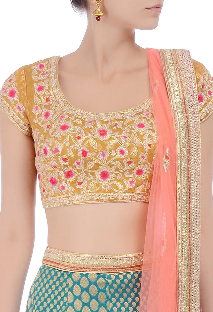 Mustard, green & peachy pink embroidered lehenga set