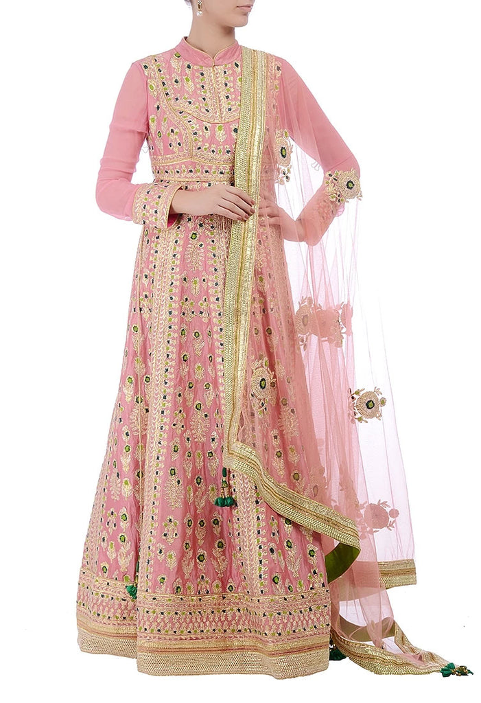 Rose pink and lime green embroidered anarkali set