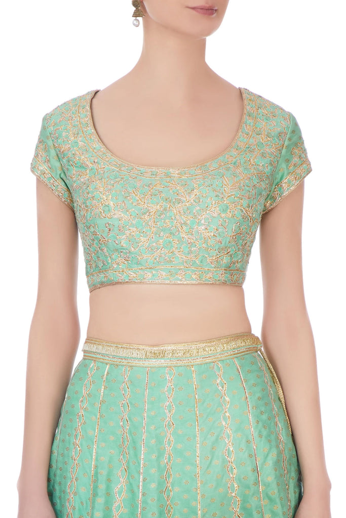 Sea green gota embroidered lehenga set
