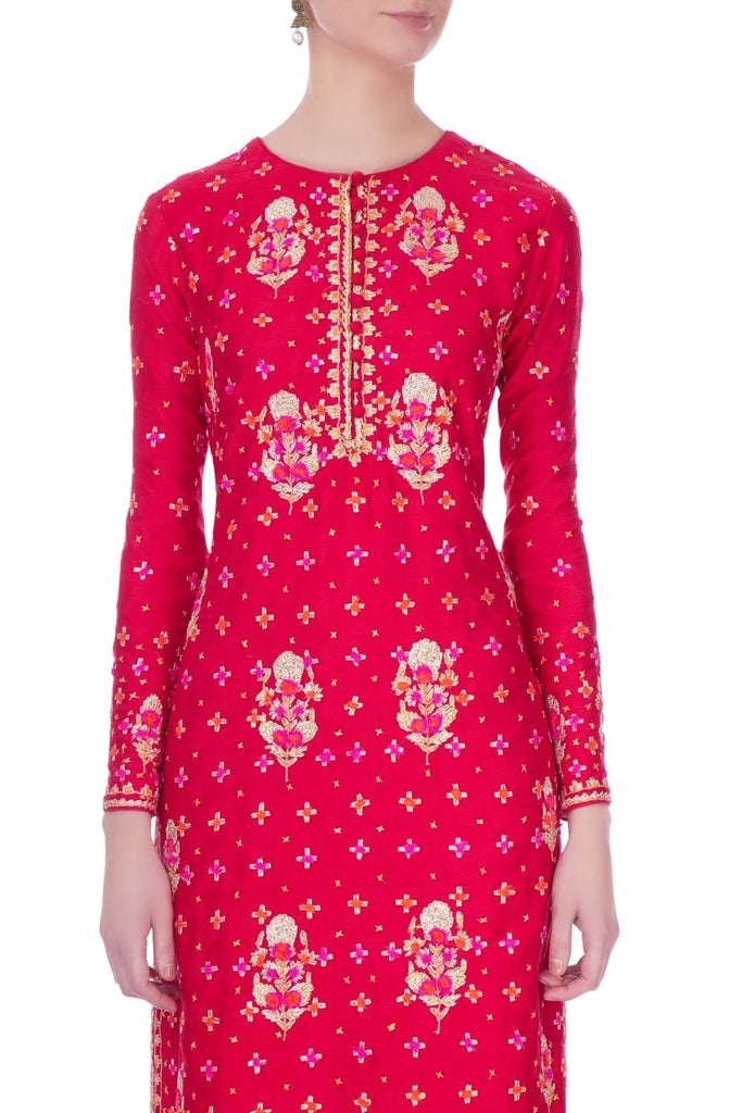 Red viscose silk gota embroidered kurta set