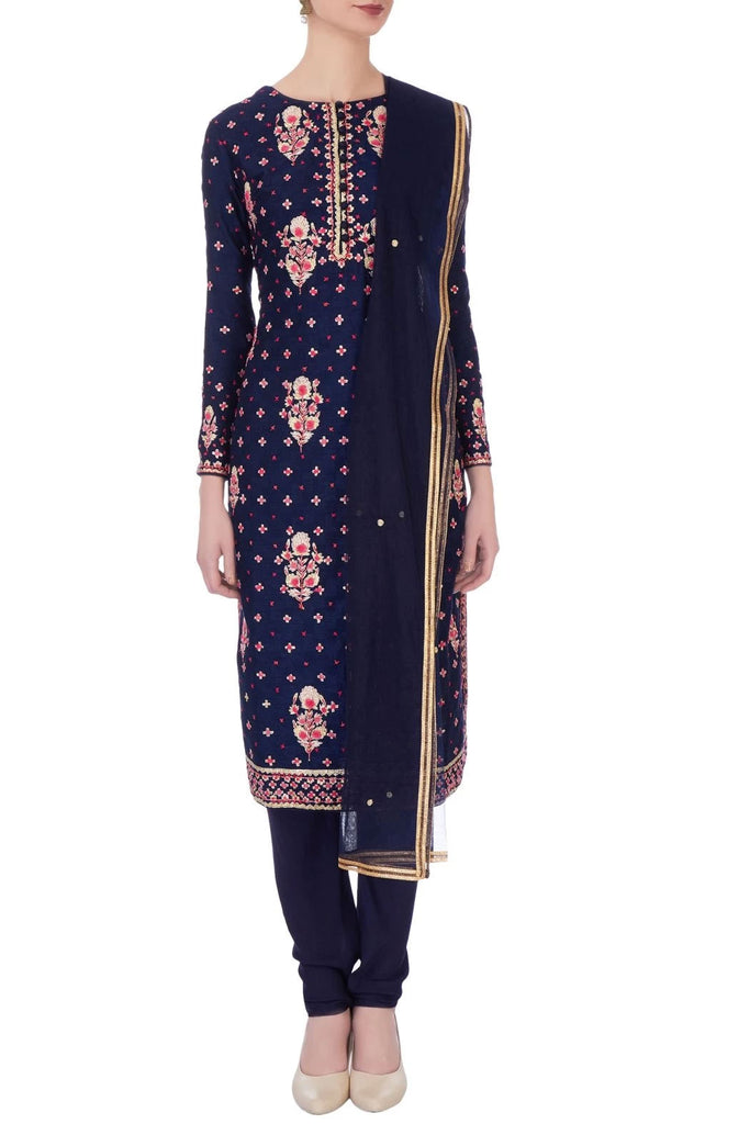 Navy blue gota embroidered kurta set