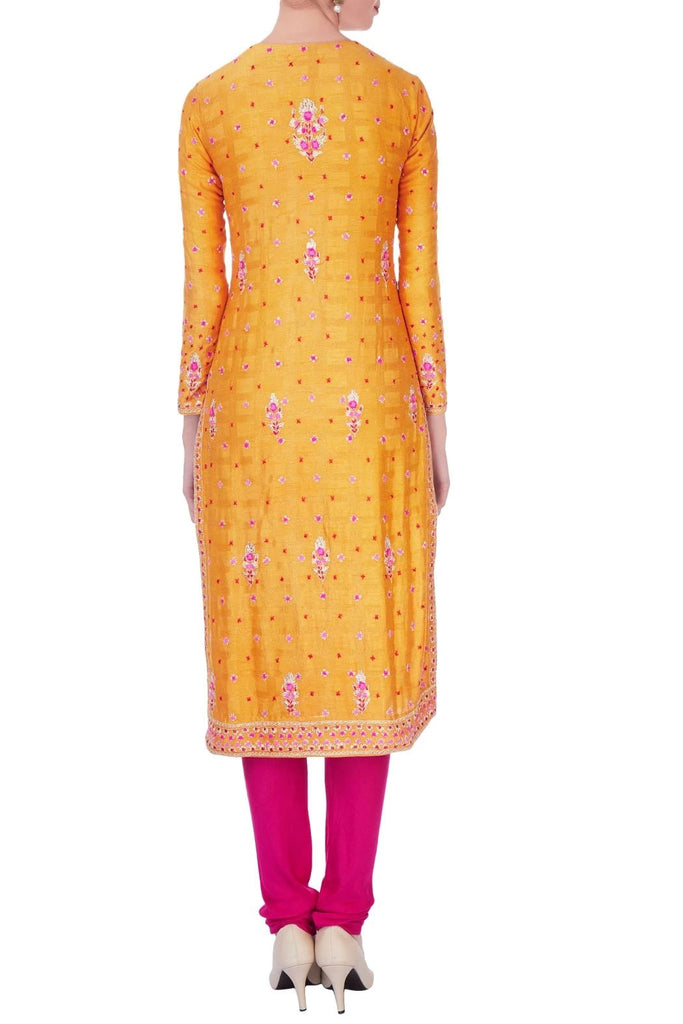 Orange & pink kurta in gota thread embroidery kurta set