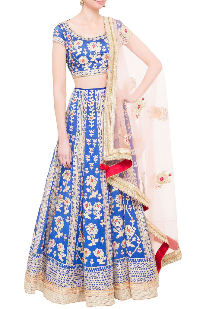 Royal blue satin gota work lehenga set