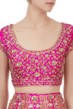 Pink sequin embroidered brocade bridal lehenga set