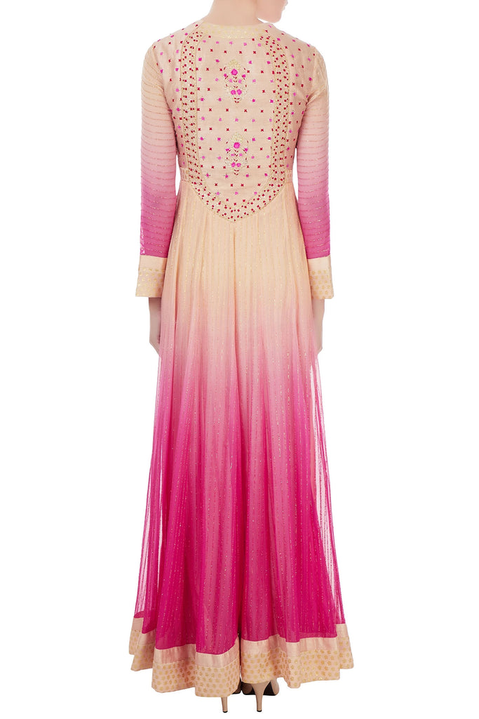 Pink ombre zari embroidered anarkali set
