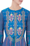 Blue gota embroidered anarkali with dupatta