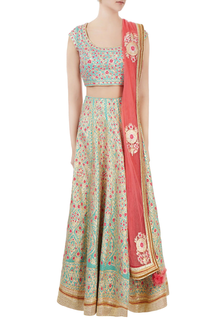 Turquoise blue raw silk gota embroidered lehenga set