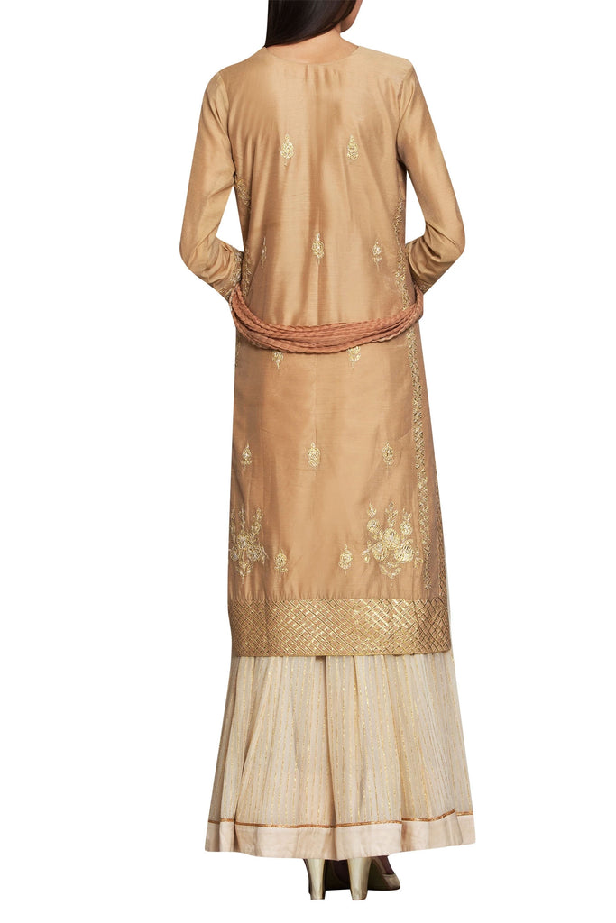 Beige chanderi & georgette gota thread embroidery kurta with lehenga & dupatta