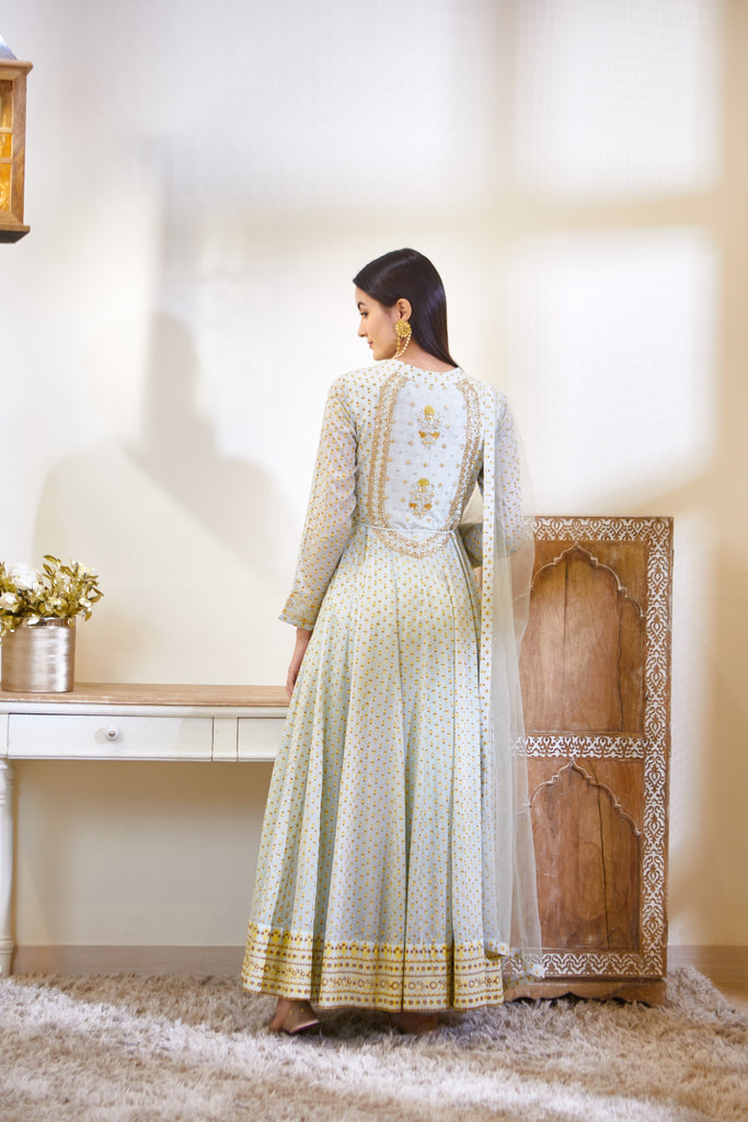 Sea Green Anarkali Set.