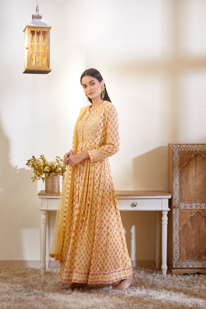 Light Yellow Anarkali Set.