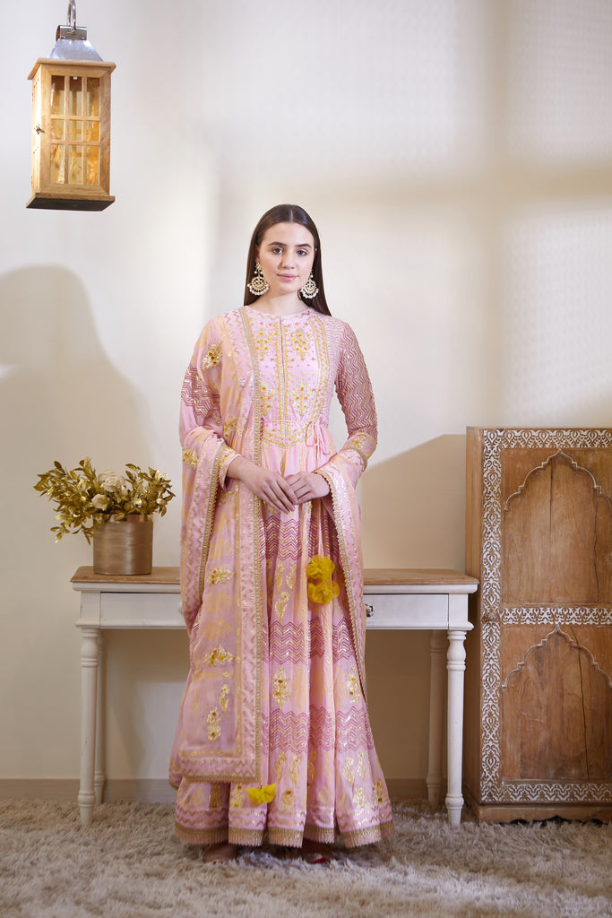 Blush Pink Anarkali Set.