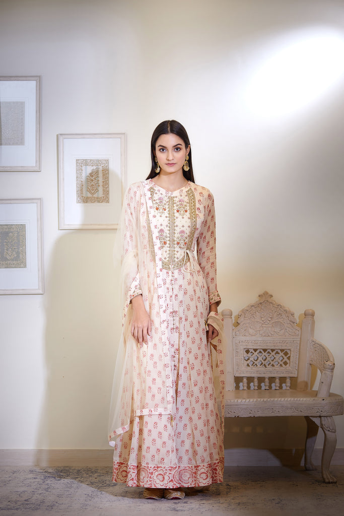 Off-White Anarkali Set.